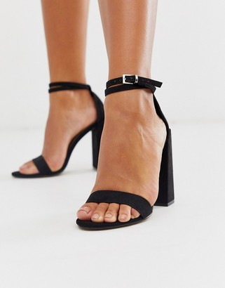 ASOS DESIGN Highlight barely there block heeled sandals in black