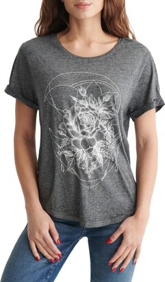 Lucky Brand Fine Line Floral Graphic Tee