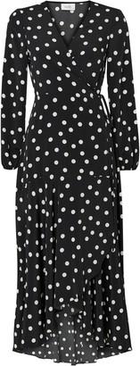 Wallis PETITE Black Polka Dot Midi Wrap Dress