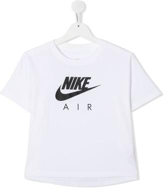 Nike Kids TEEN logo-print cropped T-shirt