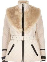 River Island Womens Blush pink faux fur trim padded jacket