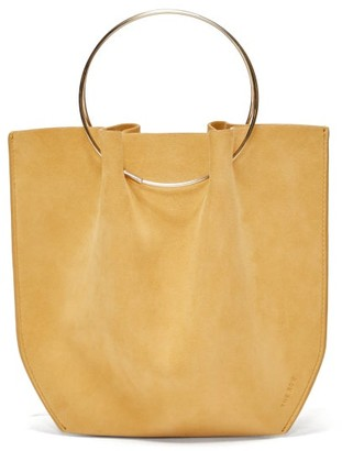 The Row Flat Micro Ring-handle Suede Bag - Womens - Nude
