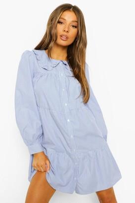 boohoo Stripe Ruffle Collar Shirt Dress