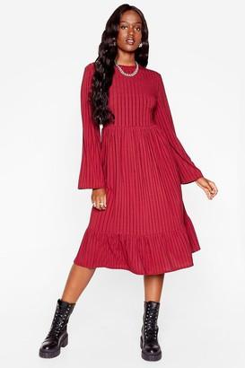 Nasty Gal Womens That's My Stripe Plus Relaxed Midi Dress - Burgundy