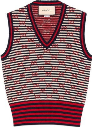 Gucci GG jacquard wool sleeveless top
