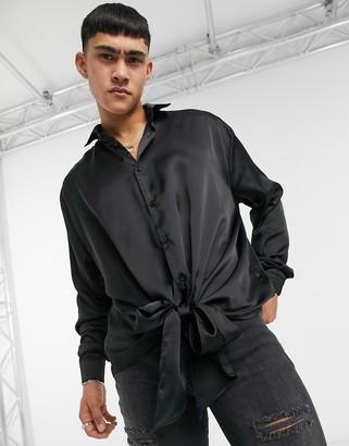ASOS DESIGN tie front satin shirt in black
