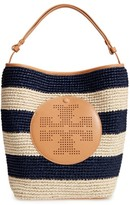 Tory Burch Perforated Logo Straw Hobo - Beige