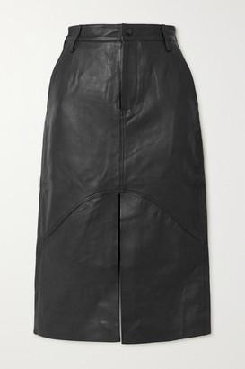 REMAIN Birger Christensen Bocca Leather Midi Skirt - Black