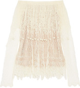 Alexander McQueen Off-the-shoulder Pompom-embellished Silk-lace Top - Ivory
