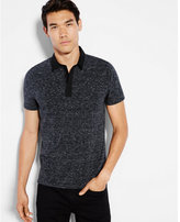 Express marled oxford collar zip placket signature polo
