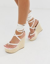 Asos Design DESIGN Tribute thong tie leg wedges