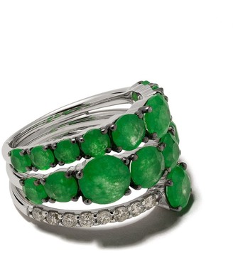 Brumani 18kt White Gold, Jade And Diamond Ring