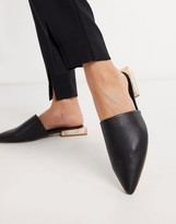 Asos DESIGN Magic pointed flat shoes in black with marble heel