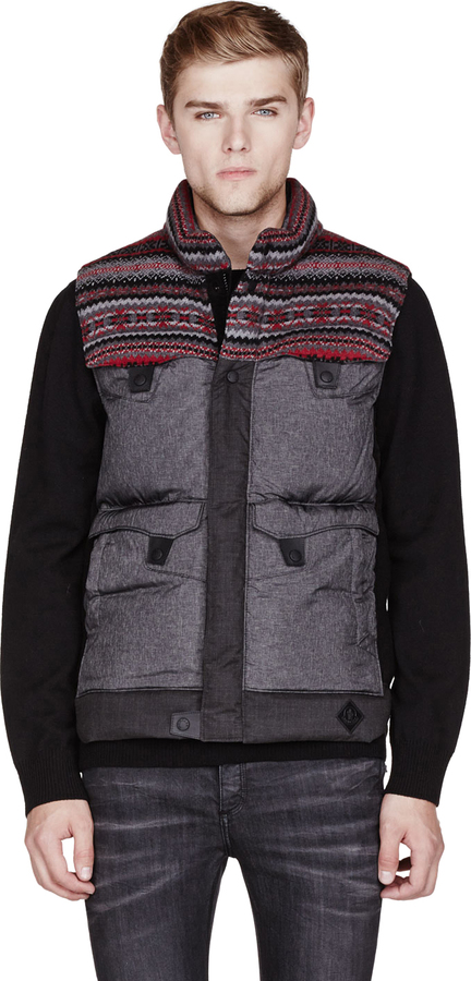 Moncler Grey Patterned White Mountaineering Edition Avenger Vest