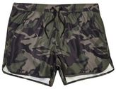 River Island MensGreen camo runner swim trunks