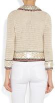 Tory Burch Donovan embellished crochet-knit linen jacket