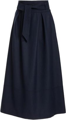 Martin Grant Belted Wool Midi Skirt