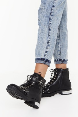 Nasty Gal Womens You Stud Be Here Faux Leather Hiker Boots - Black