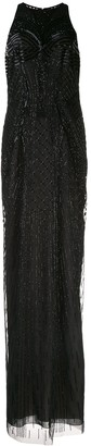 BURNETT NEW YORK Geometric Embroidered Evening Dress