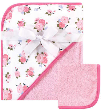 Luvable Friends Hooded Towel and Washcloth Set, Floral