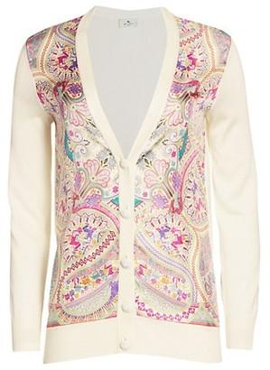 Etro Paisley Silk Front Knit Cardigan