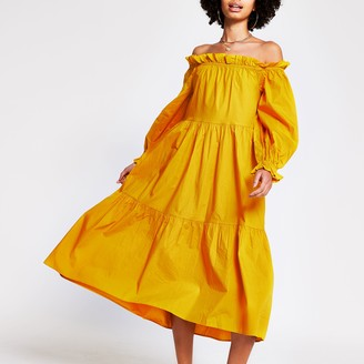 River Island Womens Yellow bardot maxi puff dress