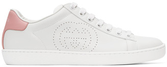 Gucci White and Pink Interlocking G Ace Sneakers