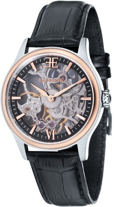 Thomas Earnshaw Thomas Earnhshaw Men's Bauer Shadow Mechanical Watch with Black Dial Skeleton Display and Black Leather Strap ES-8061-07