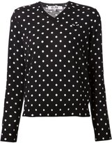Comme des Garcons embroidered heart polka dot jumper - women - Wool - XS