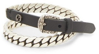 Gucci Garden Leather And Metal Bracelet - Mens - Silver