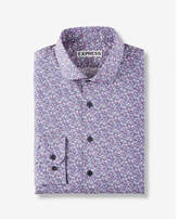Express extra slim fit floral print dress shirt