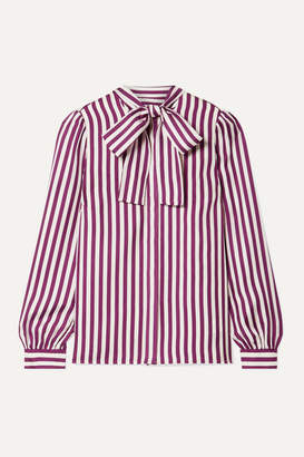 MICHAEL Michael Kors Pussy-bow Striped Silk-twill Blouse - Magenta
