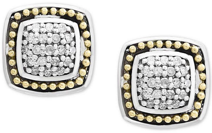 Effy Balissima by Diamond Cluster Stud Earrings (1/6 ct. t.w.) in Sterling Silver & 18k Gold