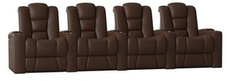 Solid Wood Home Theatre Lounger (Row of 4) Latitude Run Body Fabric: Classic Cappucino
