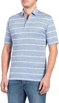 Isaia Men's Wide-Stripe Polo Shirt