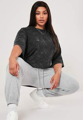 Missguided Plus Size Grey Drop Shoulder Oversized Washed Top