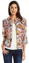 Ruby Rd. Women's Petite Size Button-Front Tropical Palms Printed Crinkle Burnout Shirt Jacket