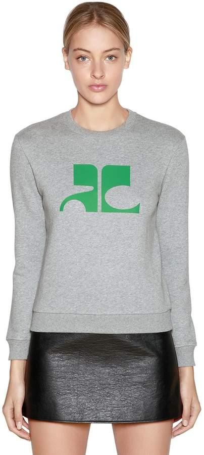 Courreges Logo Printed Cotton Sweatshirt