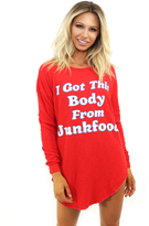 Wildfox Couture Junkfood Body Tuscany Tunic in Ariel Red as seen on Chrissy Teigen