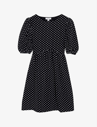 Topshop Polka-dot cotton-blend mini dress