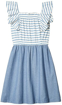 crewcuts by J.Crew Faye Combo Stripe Dress (Toddler/Little Kid/Big Kid) (Sky/White Multi) Girl's Clothing