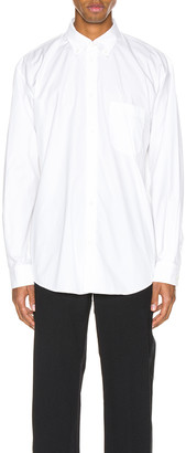 Balenciaga Long Sleeve Logo Tab Shirt in White   FWRD