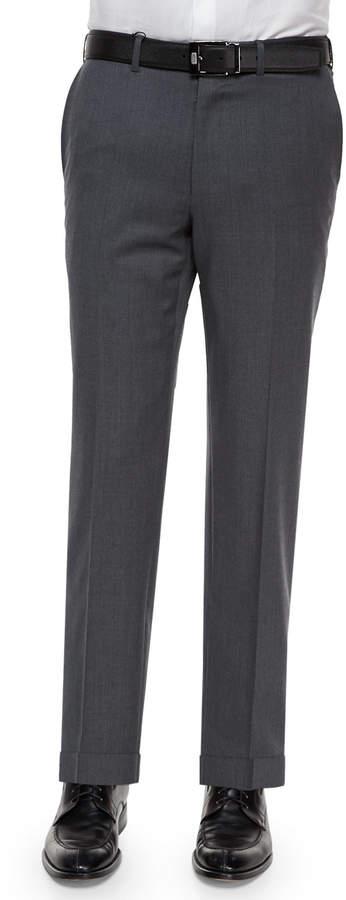 Ermenegildo Zegna Flat-Front Wool Trousers, Gray