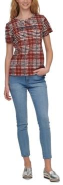 DKNY Sequin-Logo Plaid T-Shirt