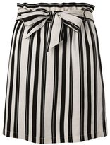 Topshop Striped linen paper bag skirt