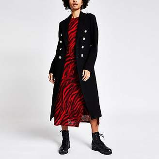 River Island Black double breasted longline utility coat