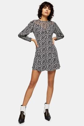 Topshop Black and White Twist Grunge Mini Dress