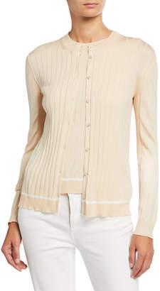 Loro Piana Silk-Cotton Piped Cardigan Sweater