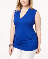 INC International Concepts I.n.c. Plus Size Ruched V-Neck Tank, Created for Macy's