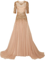 Jenny Packham Bead And Sequin-embellished Tulle Gown - Beige